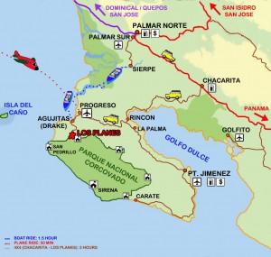 Costa Rica Osa Peninsula map